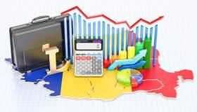 Affär, kommers och finans i det Rumänien begreppet, tolkning 3D vektor illustrationer