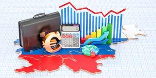 Affär, kommers och finans i det Slovenien begreppet, tolkning 3D vektor illustrationer