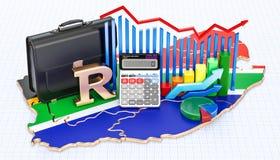 Affär, kommers och finans i det Sydafrika begreppet, rende 3D stock illustrationer