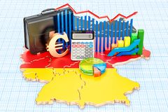 Affär, kommers och finans i Tysklandbegreppet, tolkning 3D vektor illustrationer