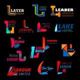 Affär L bokstavssymboler, abstrakt design stock illustrationer