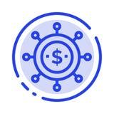 Affär nationalekonomi, global modern blå prickig linje linje symbol stock illustrationer