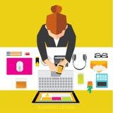 Affär och begreppsmässig vektordesign för kontor Royaltyfria Bilder