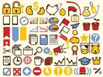 Affär 50+ och finansiell symbol stock illustrationer