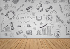 Affär och finansiella klotter på den vita väggen Arkivfoton