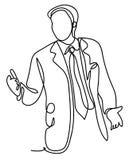 Affär och folkbegrepp - affärsman på presentation i regeringsställning Fortlöpande linje teckning Isolerat på viten vektor illustrationer