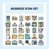 Affär 30 och kontorssymbolsuppsättning, ny stil i fylld osammanhängande översiktsstil stock illustrationer