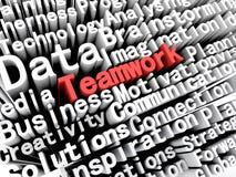 Affär och teamwork för begrepp som grafisk visande är skriftliga i rött Royaltyfri Foto