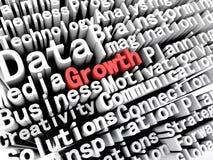 Affär och tillväxt för begrepp som grafisk visande är skriftliga i rött Royaltyfria Bilder