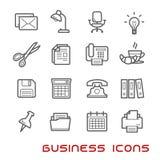 Affär och tunn linje symboler för kontor royaltyfri illustrationer