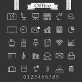 Affär och tunn symbolsuppsättning för kontor Moderiktig linje royaltyfri illustrationer