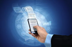 Affär på den smarta telefonen Arkivbild