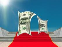 Affär pengar-tecken, röd matta av framgång Royaltyfri Fotografi