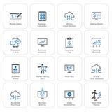 Affär & pengarsymbolsuppsättning Plan design Arkivfoton