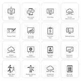 Affär & pengarsymbolsuppsättning Plan design arkivbild