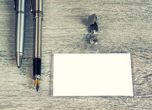 Affär penna, emblem som är retro royaltyfria foton