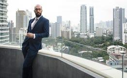 Affär Person Standing Balcony Concept royaltyfria bilder