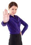 affär som gör den allvarliga teckenstoppkvinnan arkivbilder