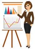 affär som gör presentationskvinnan Arkivfoton