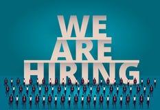 Affär som hyr begrepp Timme-chef som hyr anställd eller arbetare för jobb Rekrytera personalen eller personaler i företag stock illustrationer