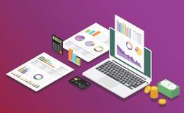 Affär som marknadsför den digitala rapporten med isometrisk stil med grafen och diagrammet för dokument för laptoipdatorfinans royaltyfri illustrationer