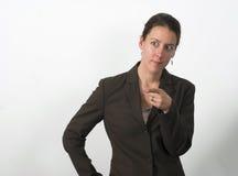 affär som pekar kvinnan Arkivfoto