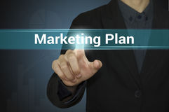 Affär som pekar marknadsföringsplan Arkivfoton