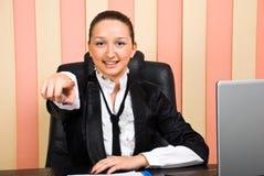affär som pekar till kvinnan dig Royaltyfri Fotografi