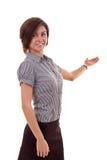 affär som presenterar den le kvinnan Arkivfoto