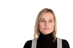 affär som ser den allvarliga kvinnan Arkivbilder