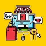 Affär som shoppar online-lagret, kommersiell plan design för internetmarknadsföring stock illustrationer