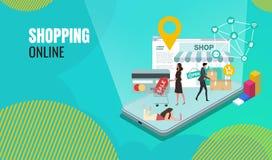 Affär som shoppar online-plana folktecken med mallen för Website för shoppingpåsar royaltyfri illustrationer
