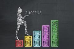 Affär start, framgångbegrepp FRAMGÅNG för inskrift för affärskvinna hållande och klättra upp förestående det drog grafdiagramdiag Arkivfoton
