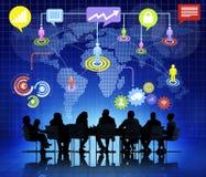 Affär Team Having Financial Conference Royaltyfri Fotografi