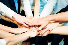 Affär Team Holding Their Hands Together Royaltyfria Bilder