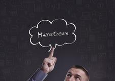 Affär, teknologi, internet och marknadsföring Ung affärsman Arkivbild
