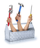 Affären bearbetar Toolboxverktygslådan Royaltyfri Bild