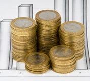 affären coins kolonndiagrammet Royaltyfri Bild