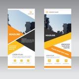 Affären för orange guling rullar upp mallen för banerlägenhetdesignen, för banermall för abstrakt begrepp geometrisk uppsättning  Royaltyfria Foton