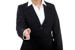 affären ger handskakningkvinnan Arkivfoto