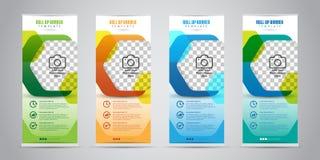 Affären rullar upp banret med olik färg 4 standee vektor illustrationer