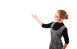 affären rymmer presentationskvinnan ung Arkivfoto