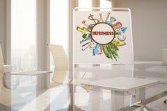 Affären skissar i konferensrum Royaltyfri Foto