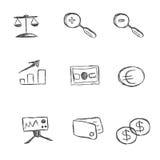 Affären symbolen, uppsättning, skissar, handteckningen, vektor vektor illustrationer
