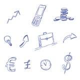 Affären symbolen, uppsättning, skissar, handteckningen, vektorn, illustration Royaltyfria Foton