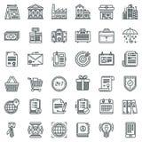 Affärs- och finanssymbolsuppsättning Stock Illustrationer