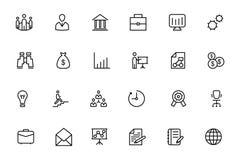 Affärs- och finansvektorlinje symboler 1 Arkivbild