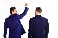 Affärs- och framgångbegrepp Man i dräkt eller vinnare royaltyfri bild