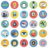 Affärs- och ledningsymbolen ställde in för websites och mobila applikationer Plan vektor stock illustrationer