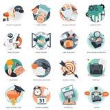 Affärs- och ledningsymbolen ställde in för websiteutvecklings- och mobiltelefonservice och apps Plan vektor stock illustrationer
